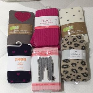 Toddler 12-24 m tights 6 pair nwt mixed brands